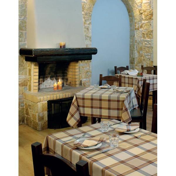 τραπεζομάντιλο Αθηνά Μπεζ – Καφέ Καρό Νο 1 | πετσέτες Μπεζ – Καφέ Καρό Νο 1