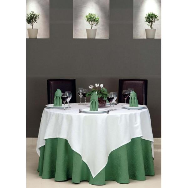 τραπεζομάντιλο Ζακάρ Πράσινο Σκούρο Νο 8 | ναπερόν Ζακάρ Λευκό Νο 1 | πετσέτες Plain Πράσινο Σκούρο Νο 8